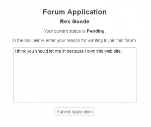 Forum Application Screen